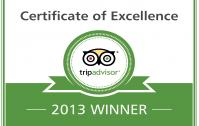 Certificate of Excellence 2013 Winner-Eco Villa Palm Beach Resort